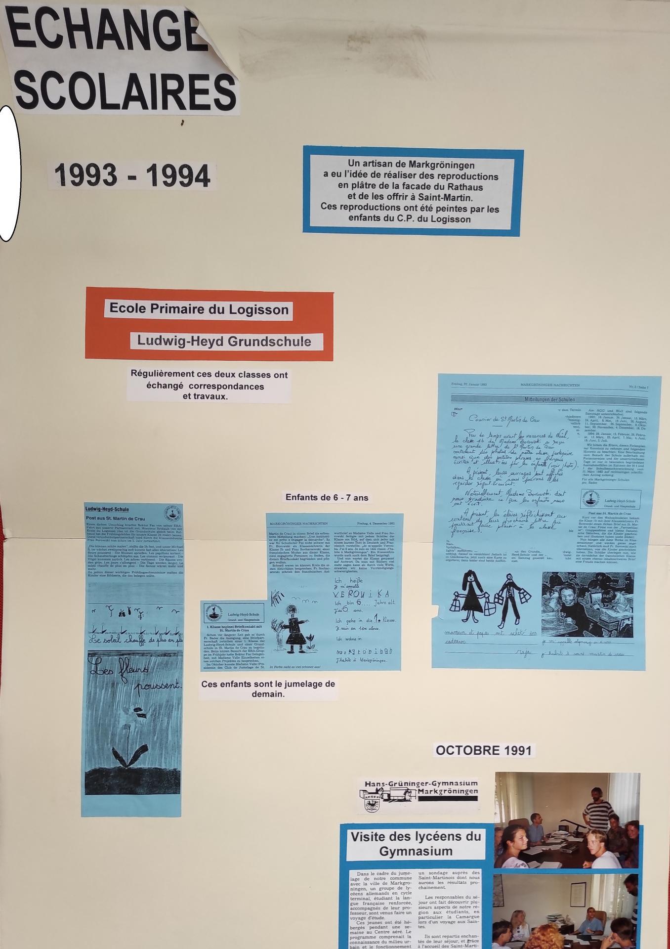 1993 1994 echanges scolaires